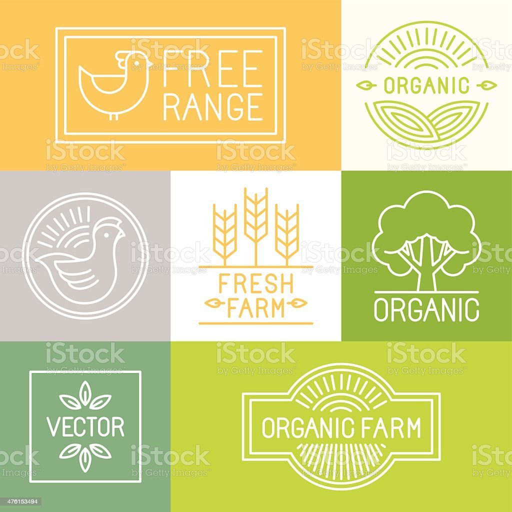 Vector fresh farm and free range labels vector art illustration