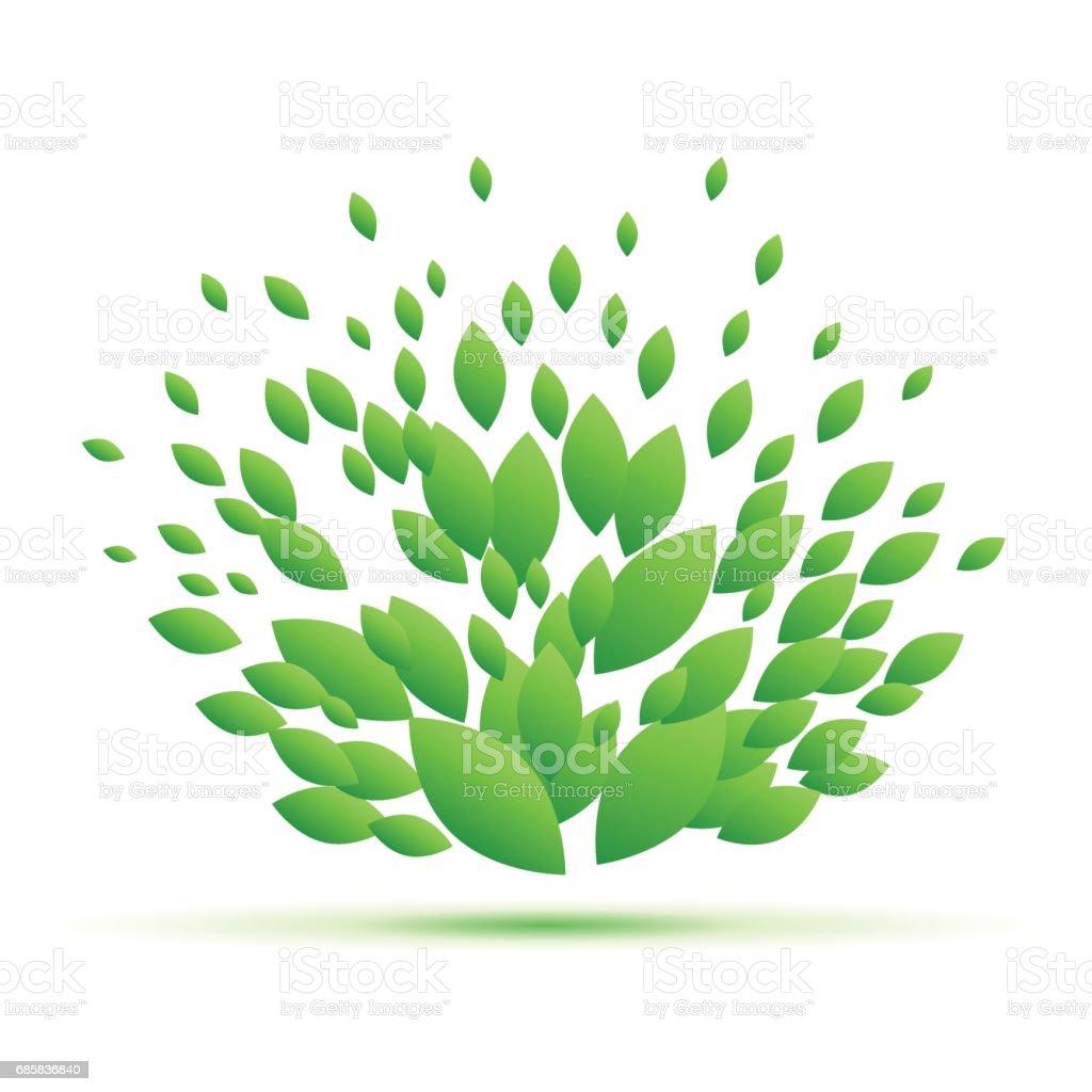 Vector Fresh green leaves background. Spring concept vector art illustration