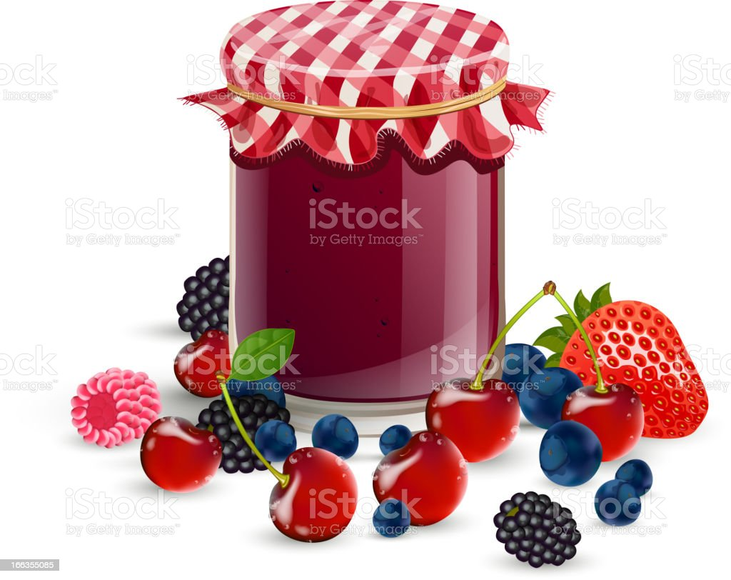 Vector fresh wild berries and jam vector art illustration