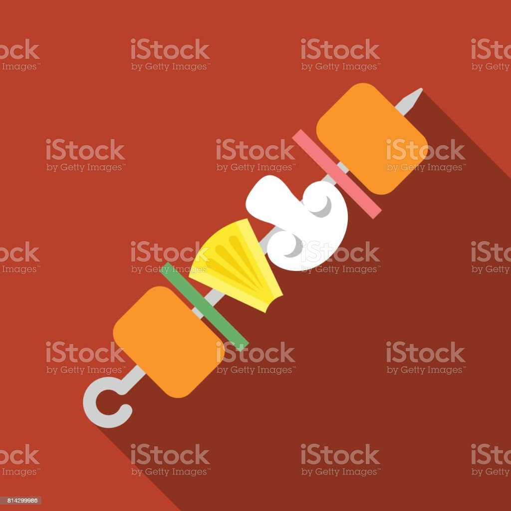 Vector fried skewers icon vector art illustration