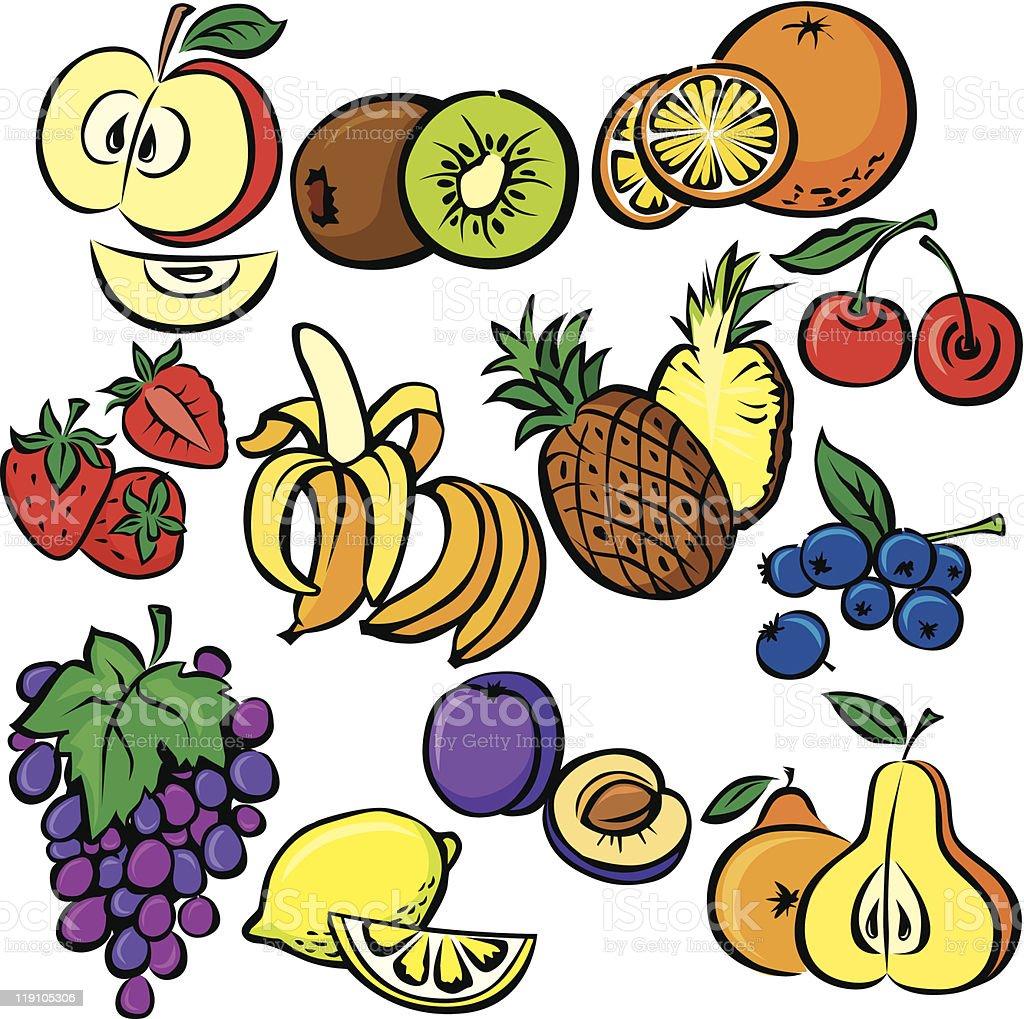 vector fruits icon set royalty-free stock vector art