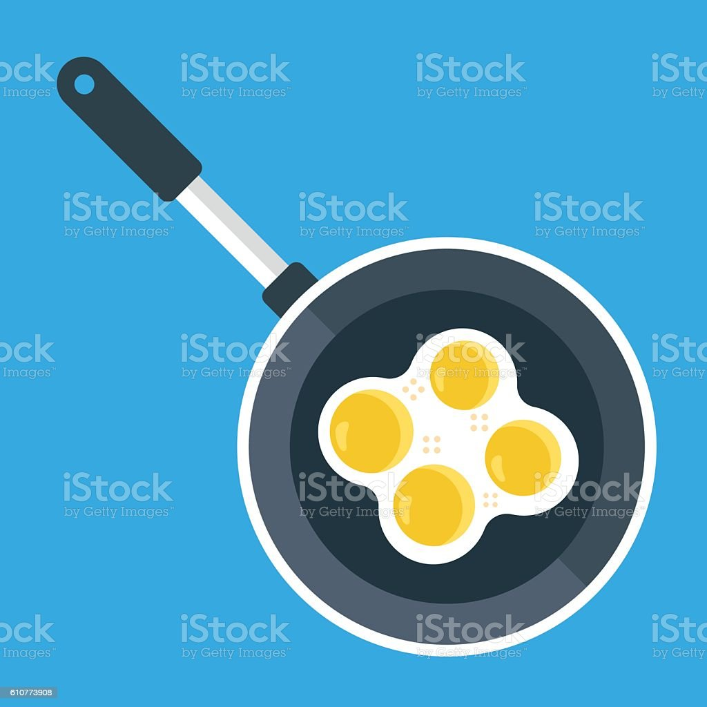 Vector frying pan and fried eggs. Creative flat illustration vector art illustration