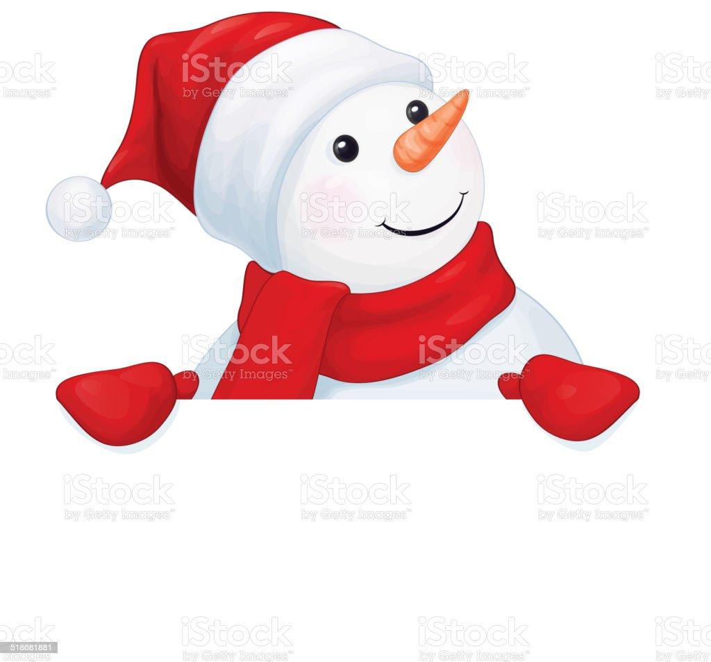 Vector  fun snowman hiding by blank isolated. vector art illustration