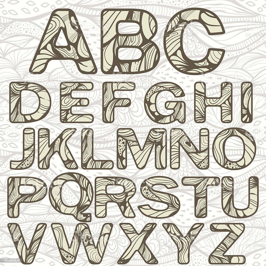 Vector Funky Latin Alphabet royalty-free stock vector art