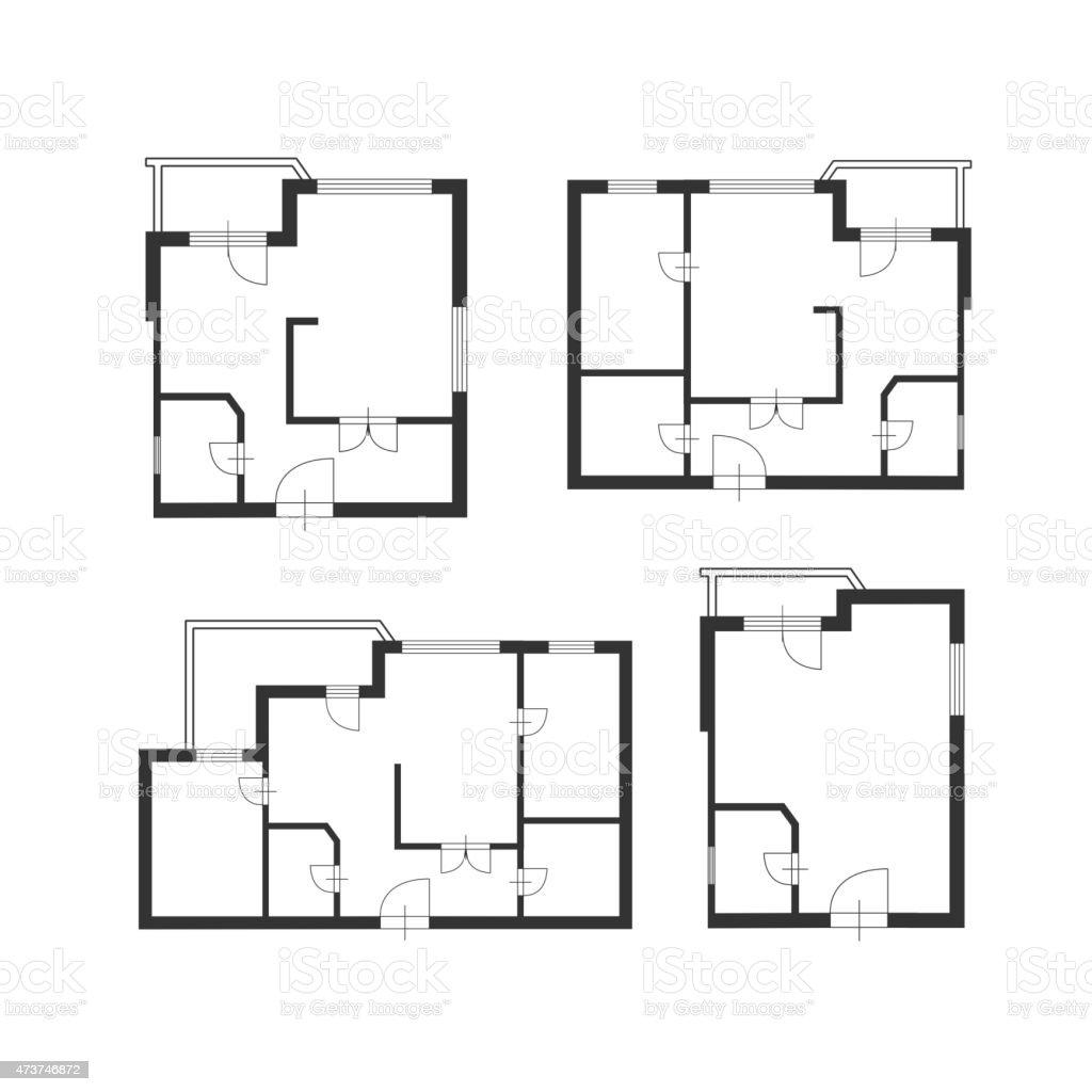 Vector  furniture architect plan of building set Flat Design vector art illustration