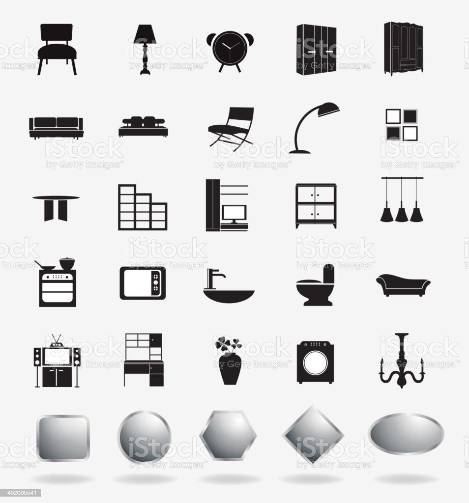Vector furniture icons royalty-free stock vector art