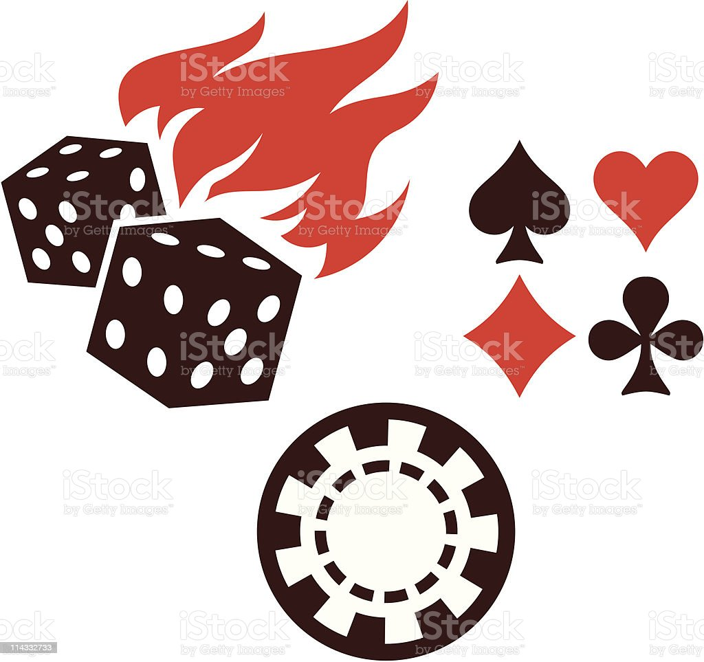 Vector gambling items – dice, playing cards and casino chips royalty-free stock vector art