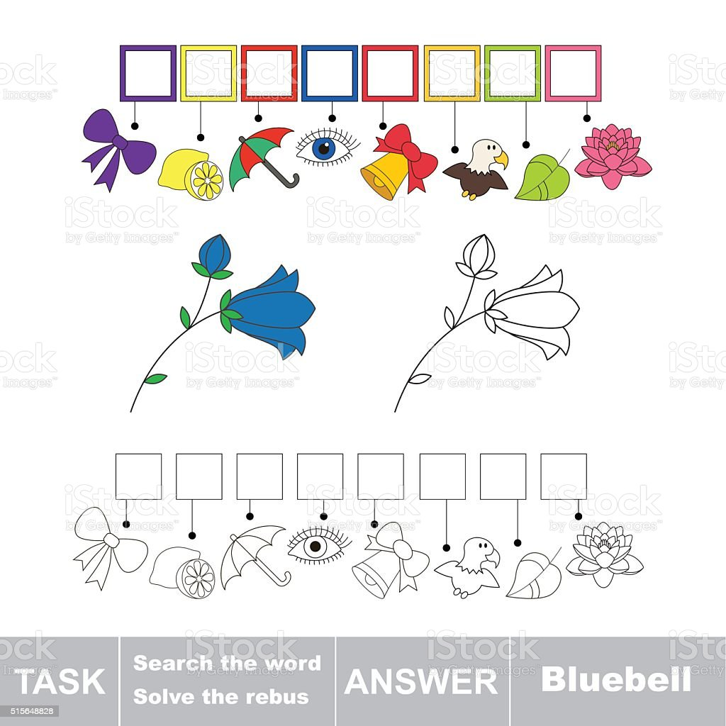 Vector game. Search the word. Find hidden word Campanula vector art illustration