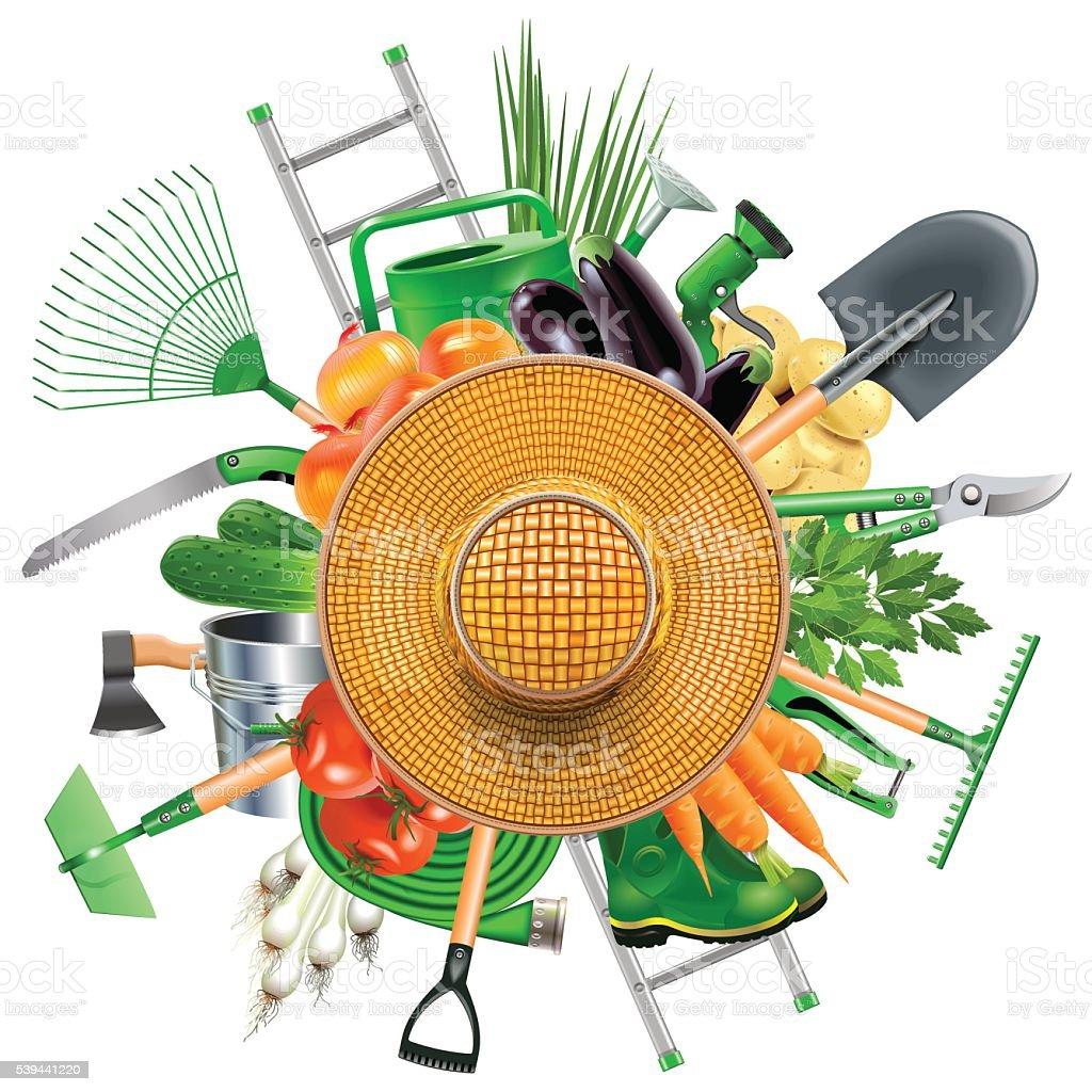 Vector Garden Accessories with Sun Hat vector art illustration