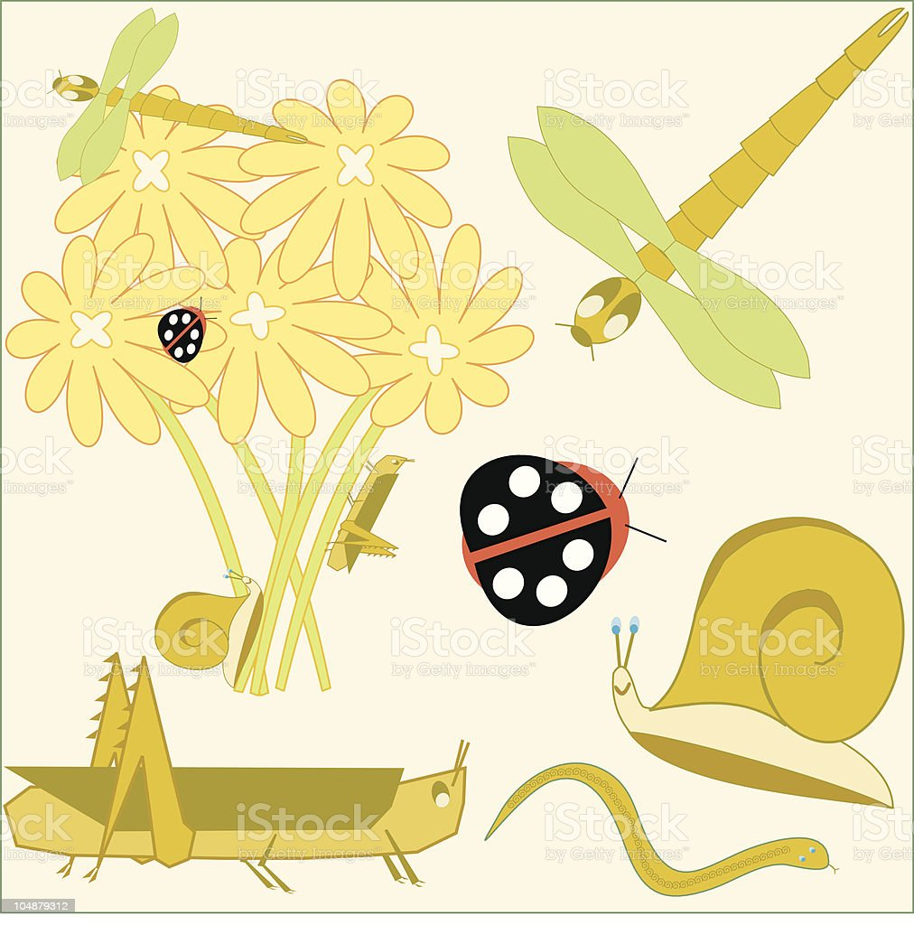 Vector Garden Variety Insects and Critters royalty-free stock vector art