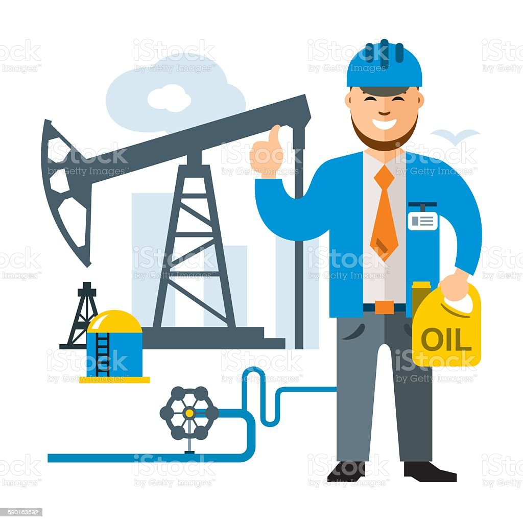 Vector Gas and Oil Industry. Flat style colorful Cartoon illustration. vector art illustration