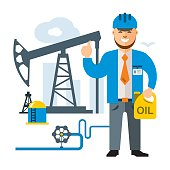 Vector Gas and Oil Industry. Flat style colorful Cartoon illustration.