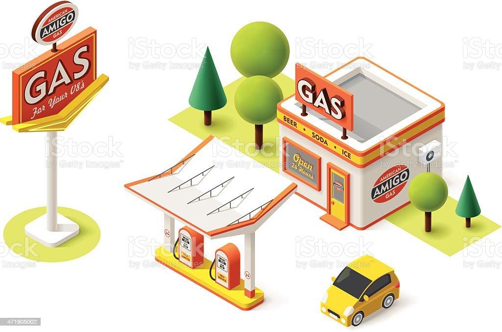 Vector gas filling station vector art illustration