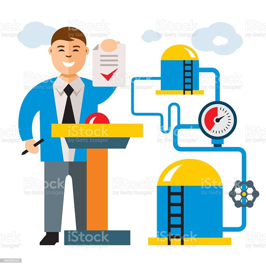 Vector Gas Industry. Flat style colorful Cartoon illustration. vector art illustration