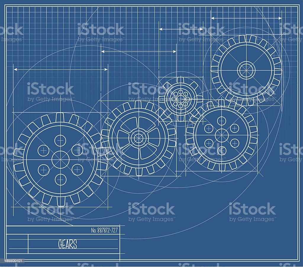 Vector Gear Blueprint royalty-free stock vector art