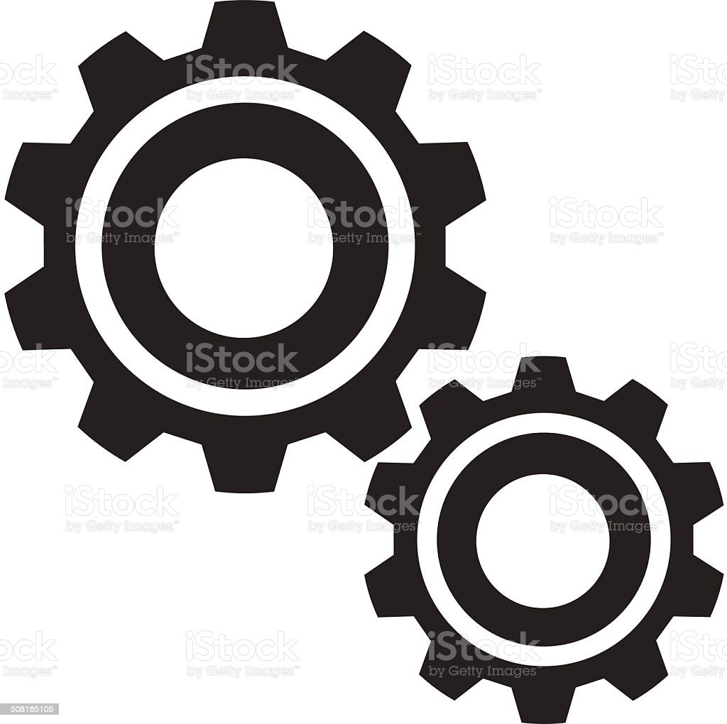 Vector Gears Black Icon vector art illustration