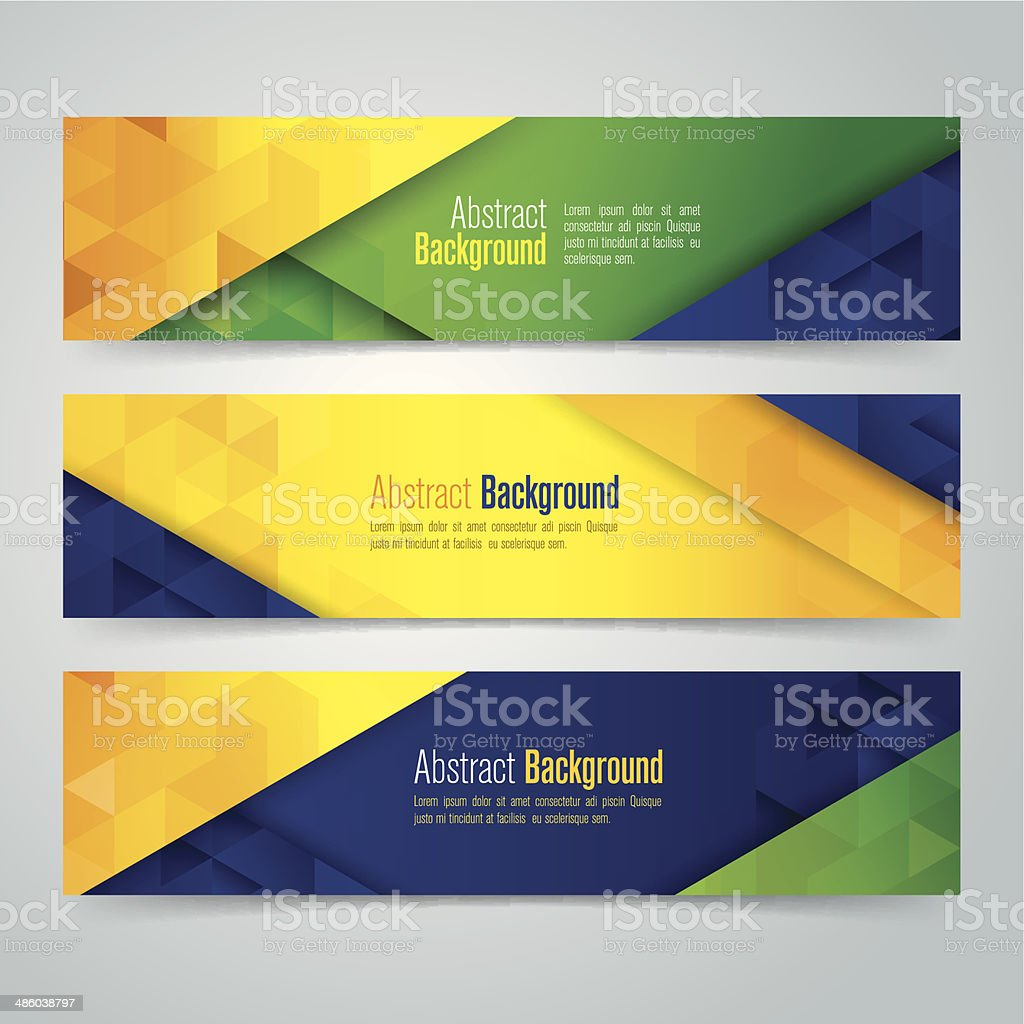 Vector geometric banner in Brazil flag concept. vector art illustration