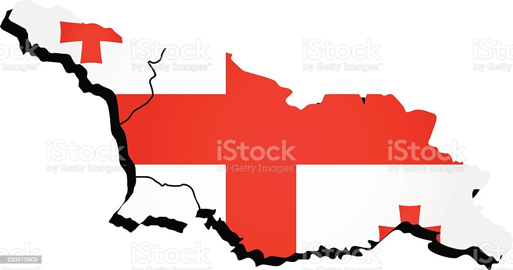 Vector Georgia administrative map with flag vector art illustration