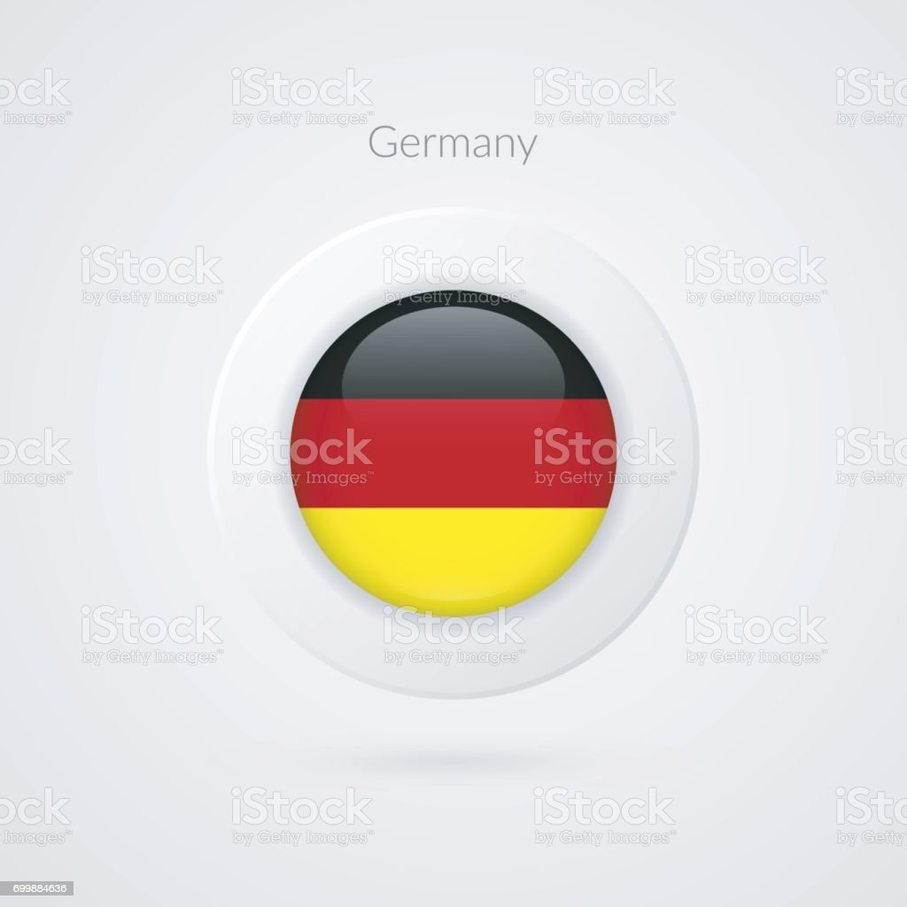 Vector German flag sign. Isolated Germany circle symbol. European Union country illustration icon for presentation, project, advertisement, sport event, travel, concept, web design, badge, logo vector art illustration