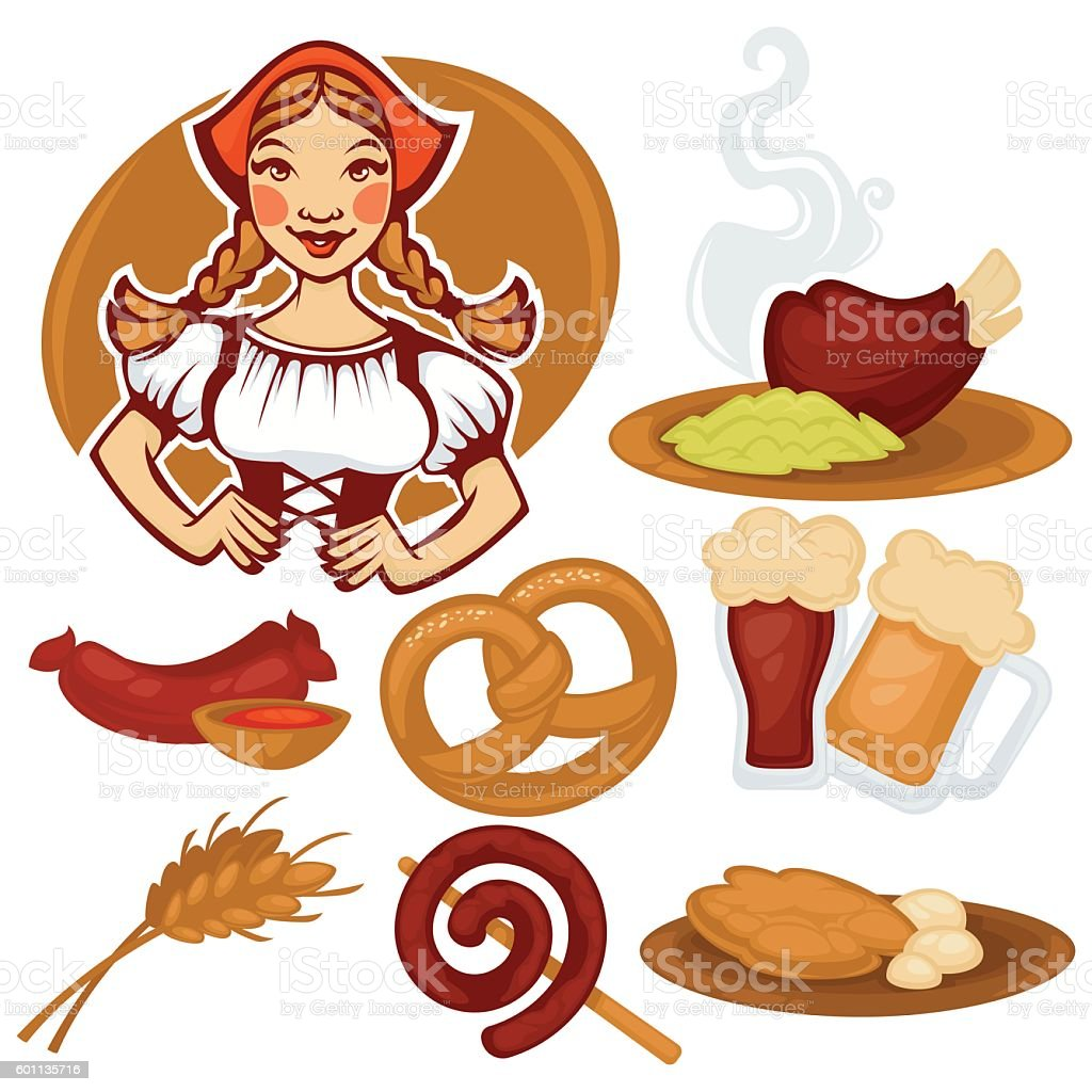 vector German girl and collection of traditional  food vector art illustration