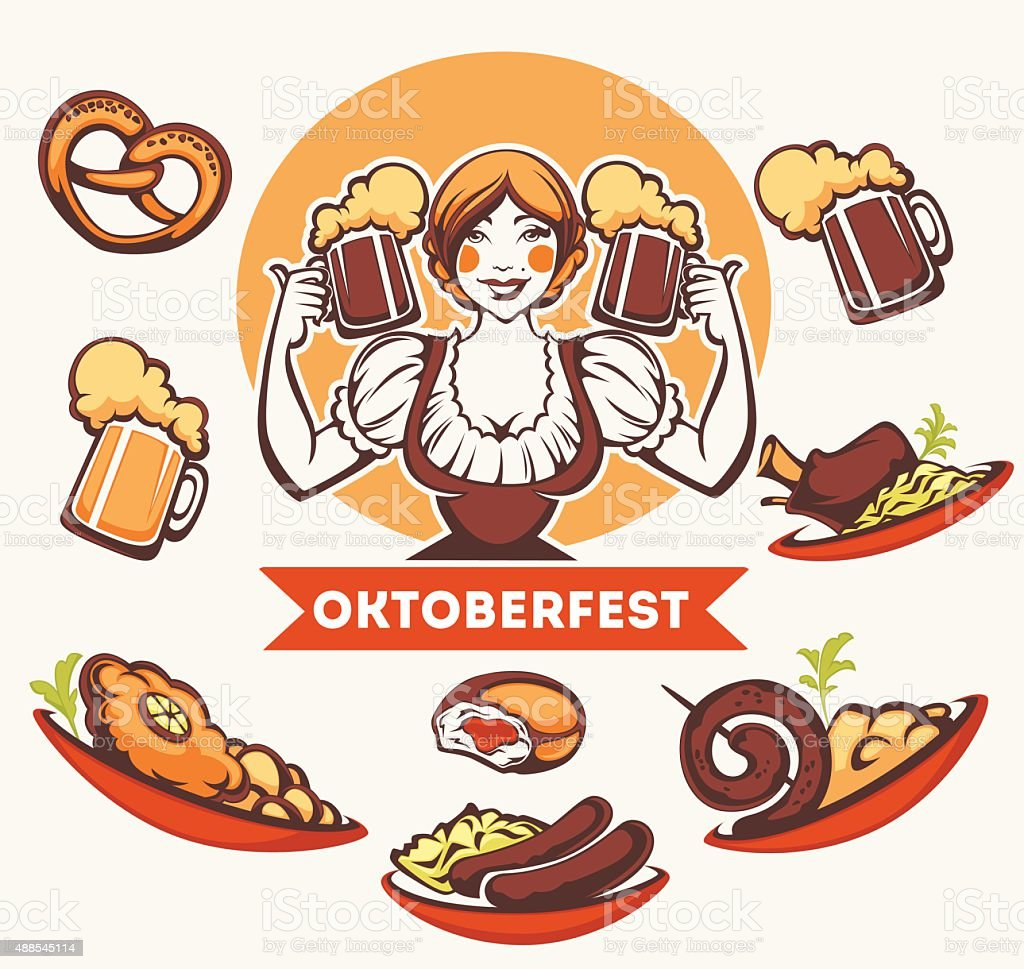 vector  German girl and collection of traditional German food vector art illustration