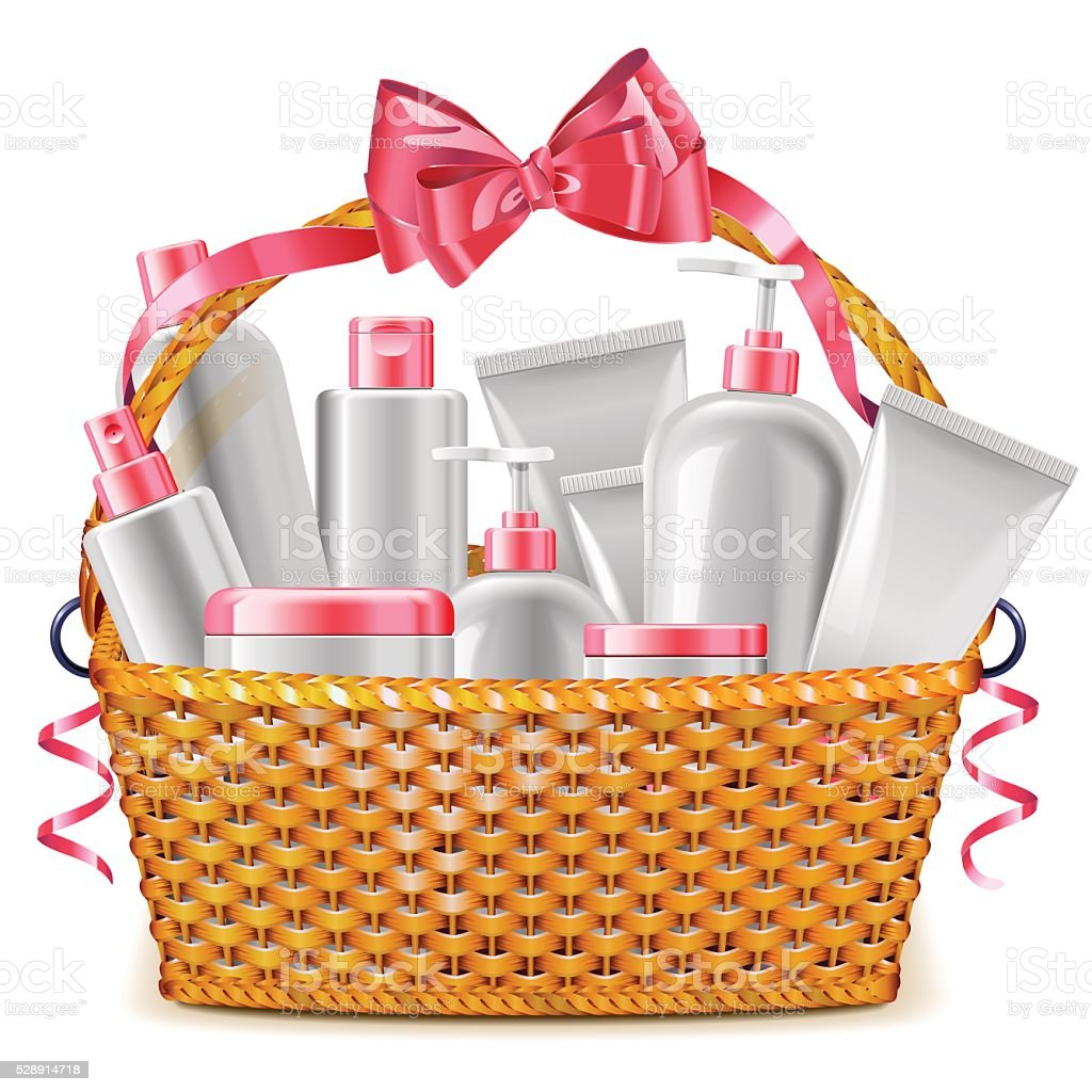 Vector Gift Basket with Cosmetics vector art illustration