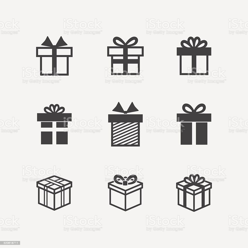 Vector Gift box black icons vector art illustration