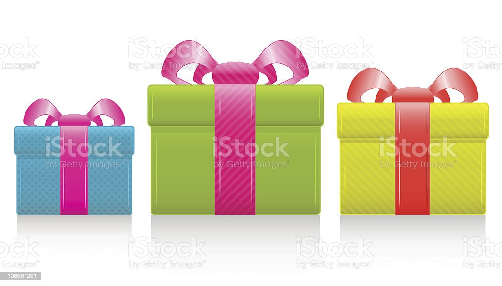 Vector gift box with silk bow royalty-free stock vector art