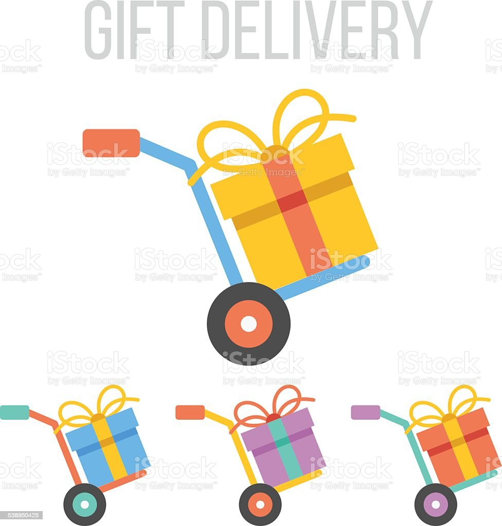 Vector gift delivery icons vector art illustration