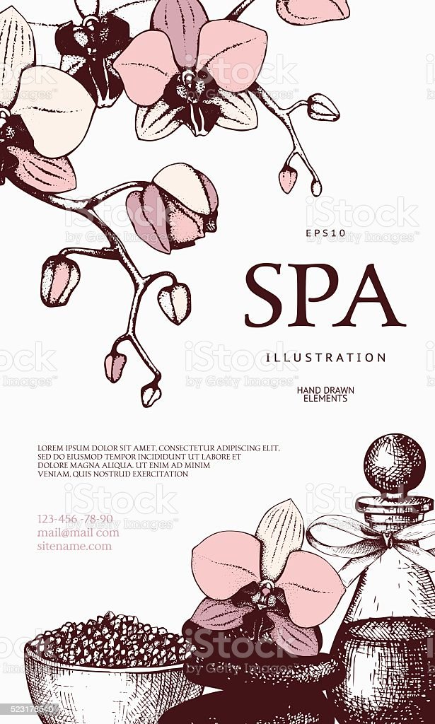 Vector Gift voucher design with hand drawn spa illustration. vector art illustration