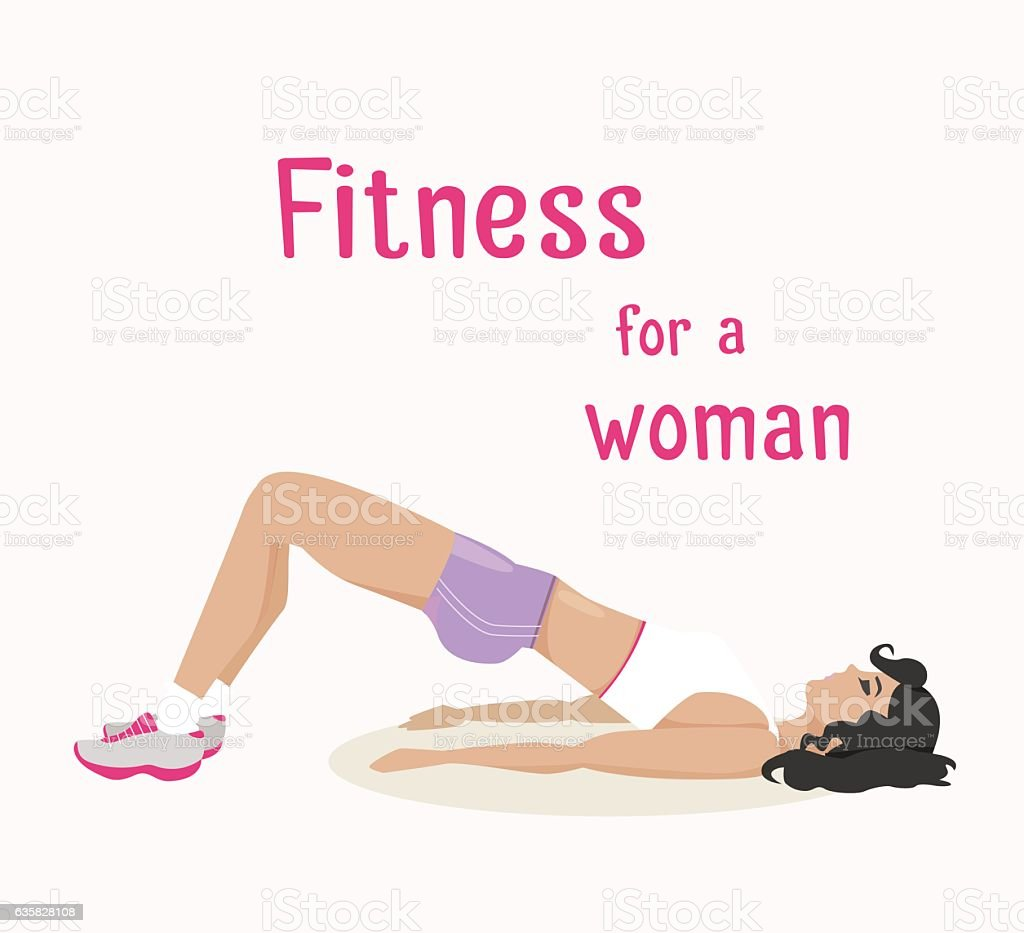 Vector girl does buttocks exercises, woman works out vector art illustration