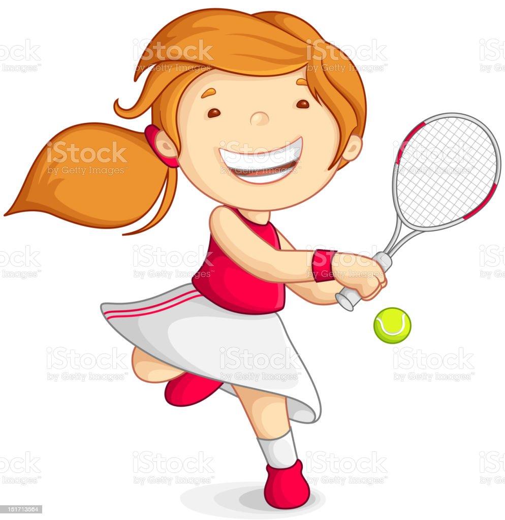 Vector girl playing Tennis royalty-free stock vector art