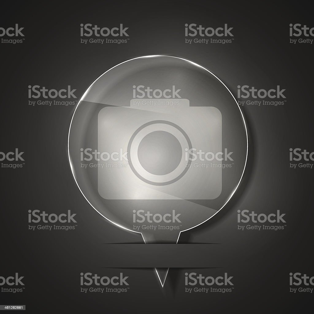 Vector glass camera icon on gray background. Eps 10 royalty-free stock vector art
