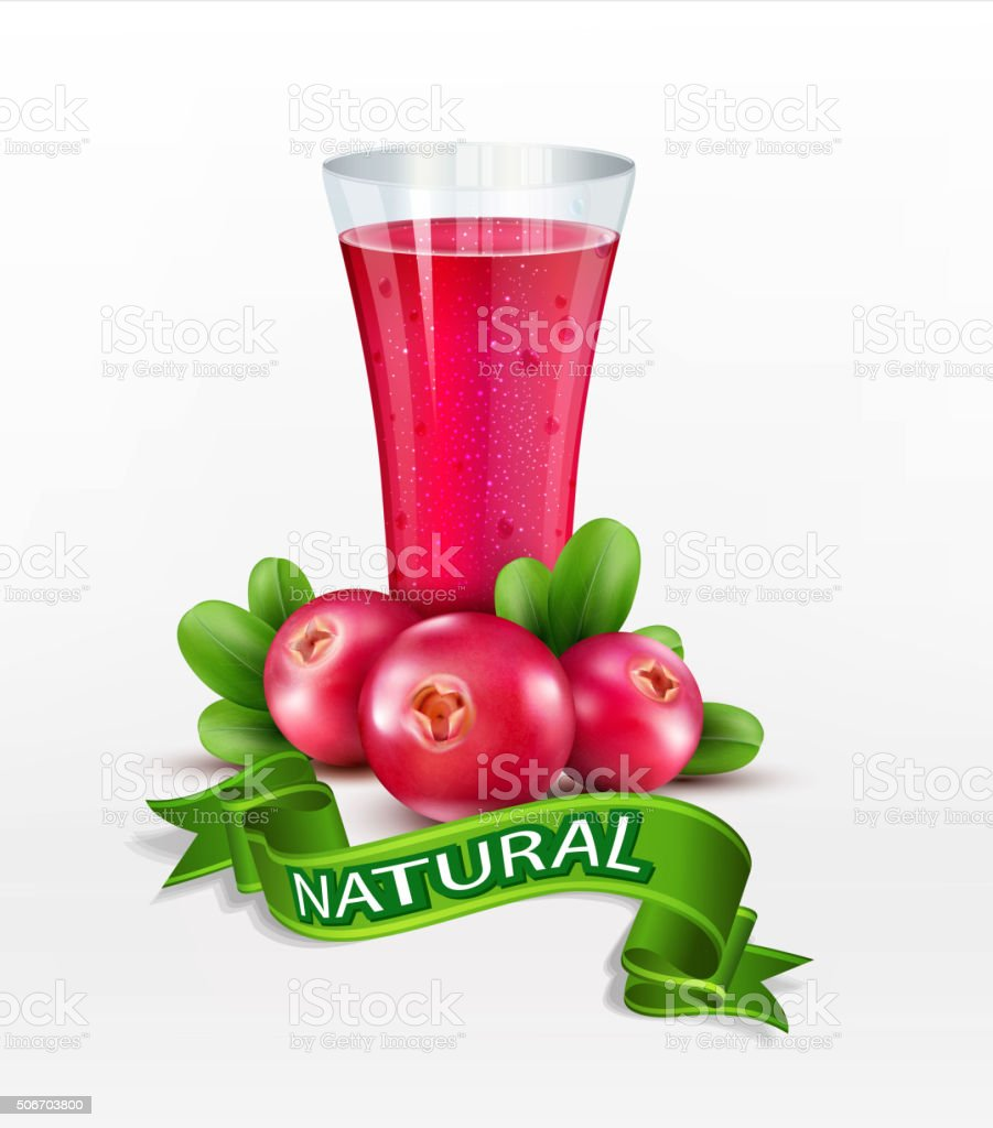 Vector glass cup with juice of cranberries vector art illustration