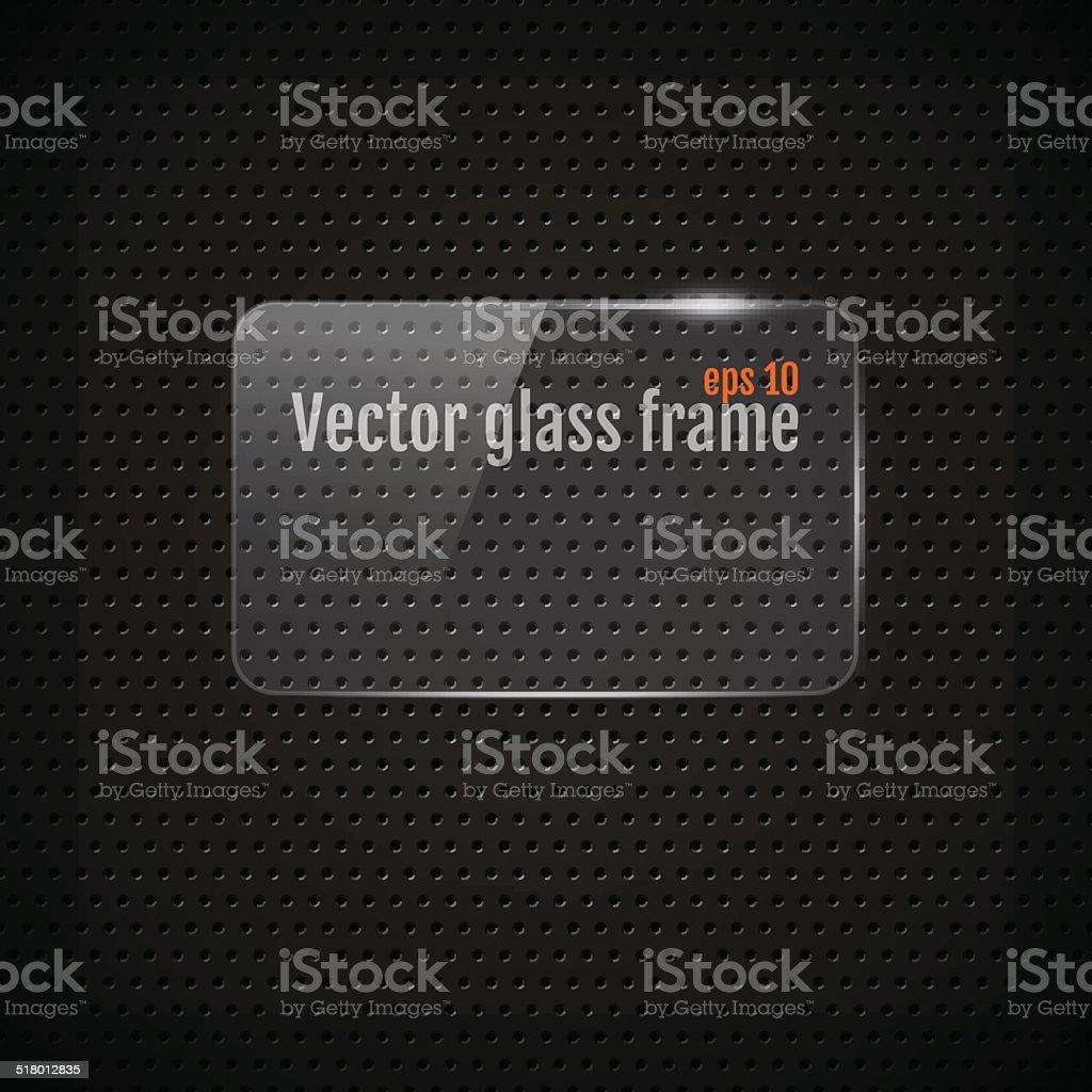 Vector glass frame background on carbon fiber texture vector art illustration