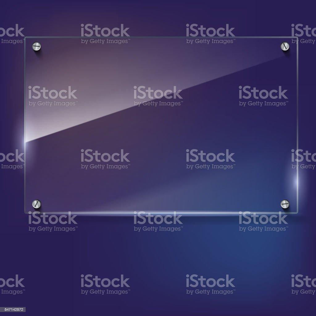 Vector glass frame with rivets vector art illustration