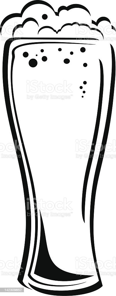 Vector glass of beer black and white icon royalty-free stock vector art