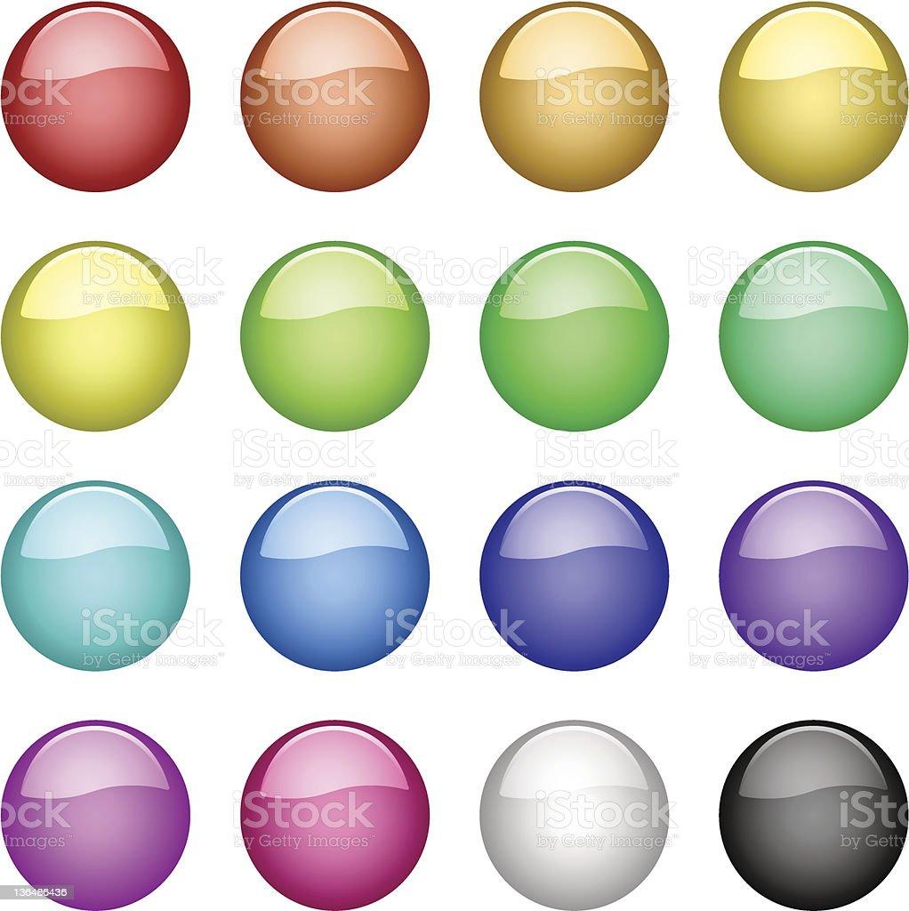 Vector glassy buttons vector art illustration