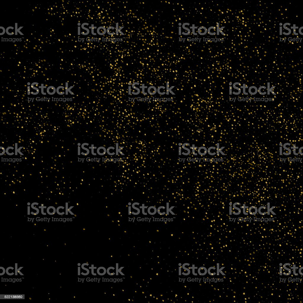 Vector glitter dust. Gold texture on a black background vector art illustration