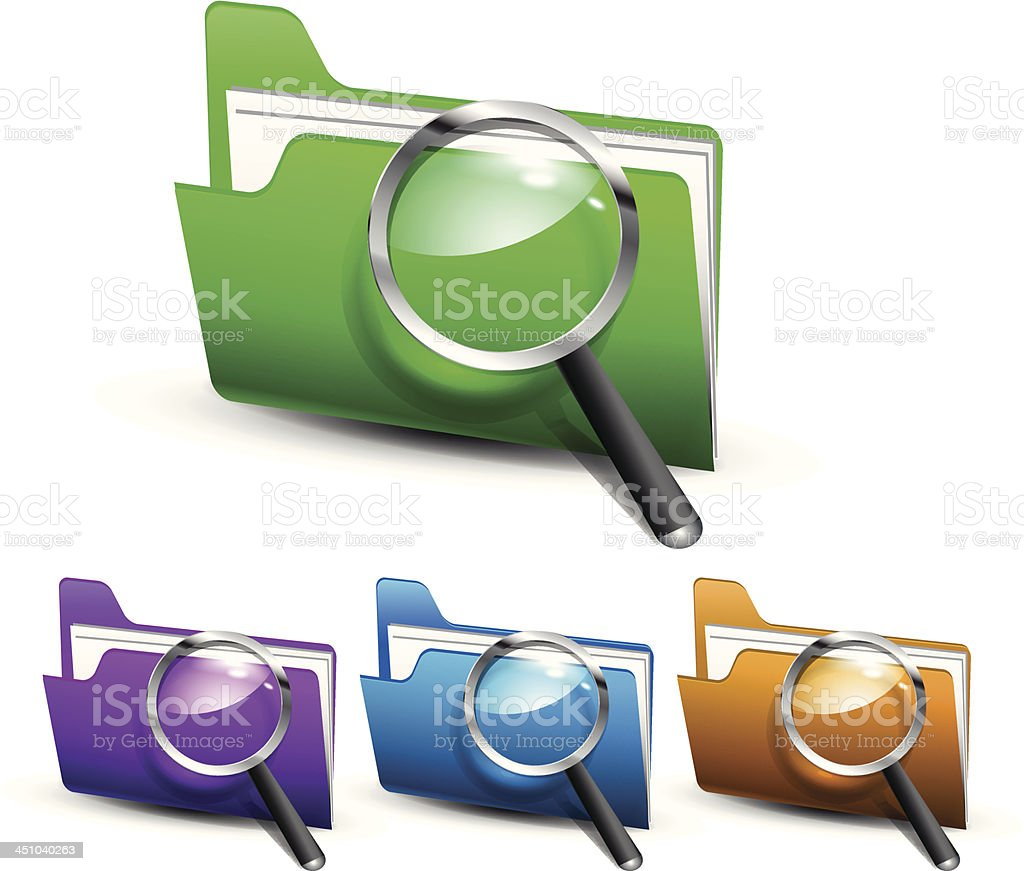 Vector glossy search folders royalty-free stock vector art