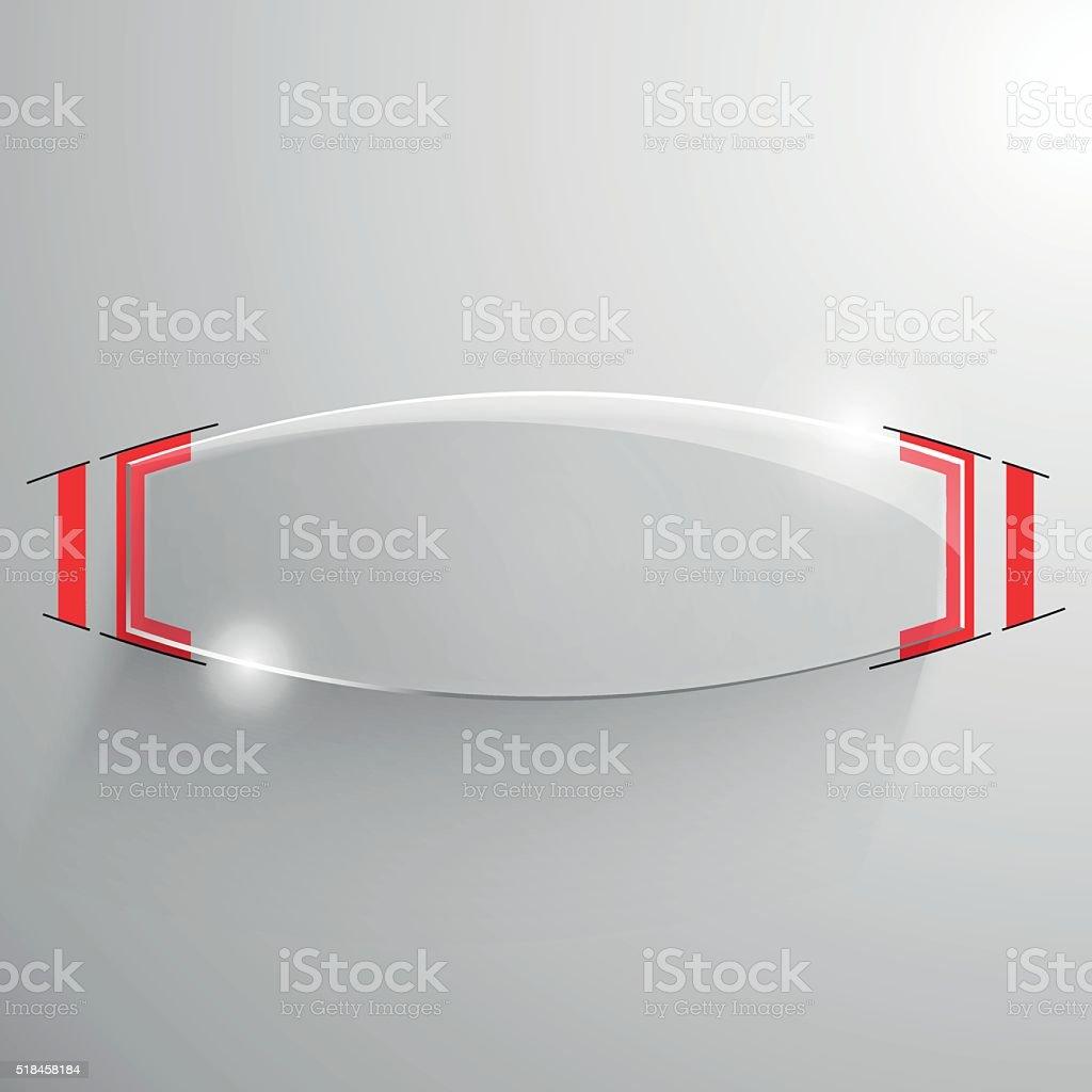 Vector glossy truncated ellipse baner, red line vector art illustration