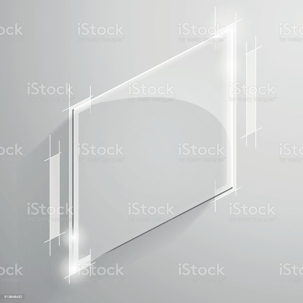 Vector glossy white square with tech line vector art illustration