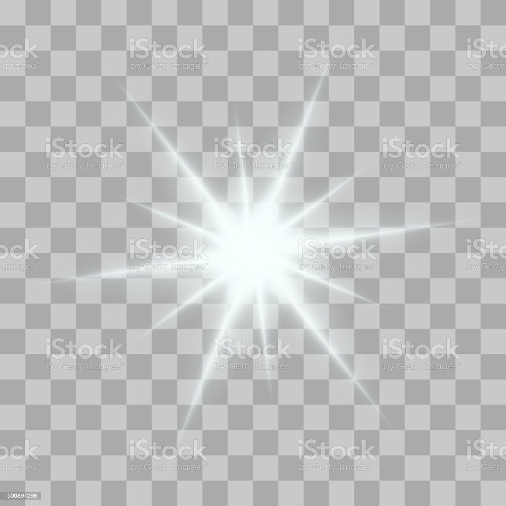 Vector glowing light bursts with sparkles on transparent background vector art illustration