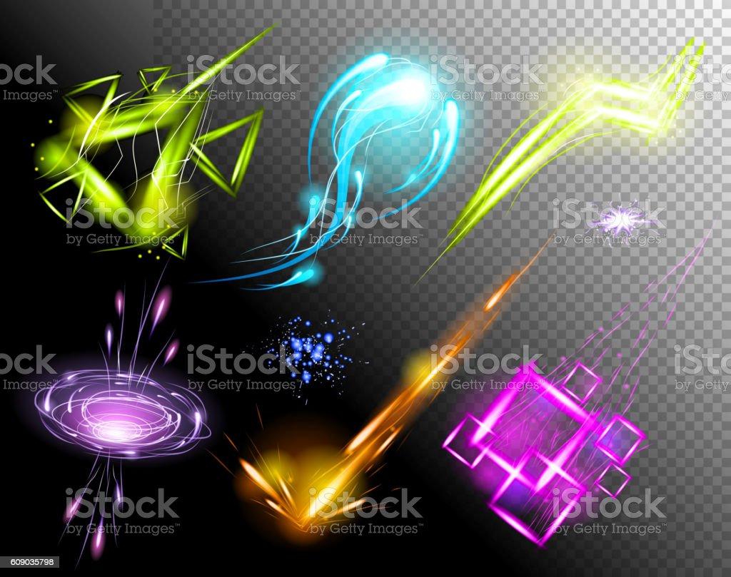 Vector Glowing Light Effect set. Sparkling Efect Design Element Collection vector art illustration