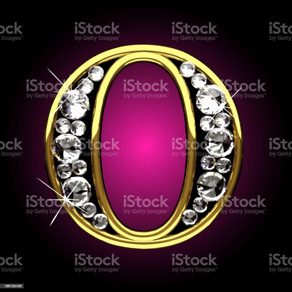 Vector gold and diamonds figure O royalty-free stock vector art