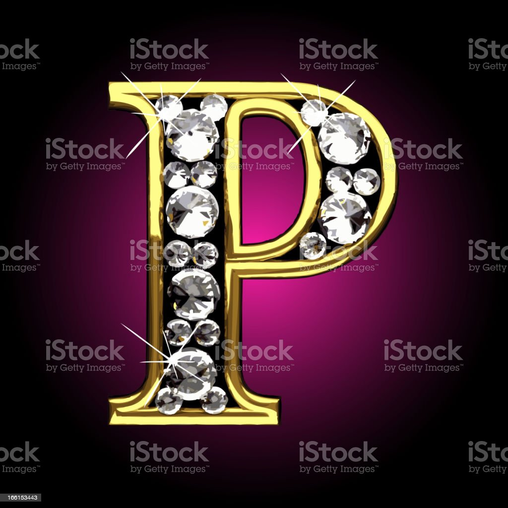 Vector gold and diamonds figure P royalty-free stock vector art