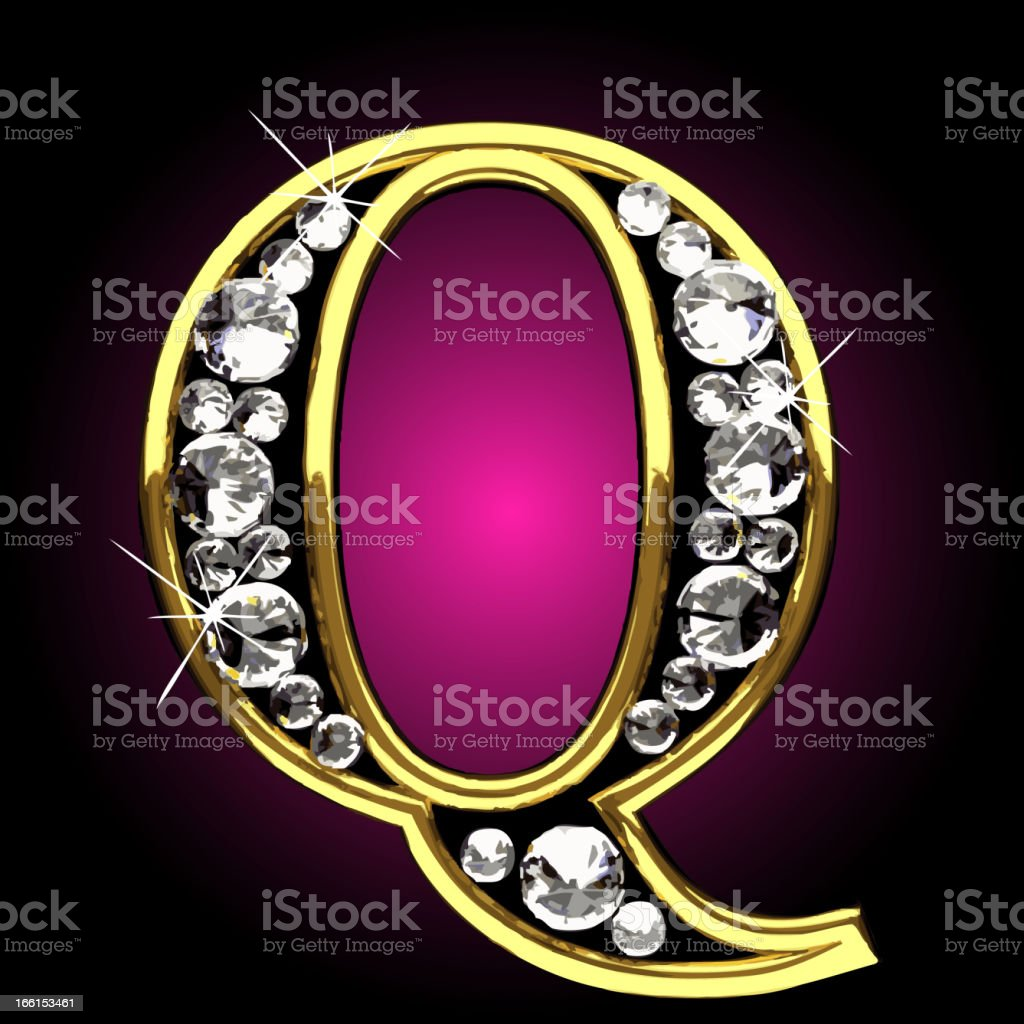 Vector gold and diamonds figure Q royalty-free stock vector art