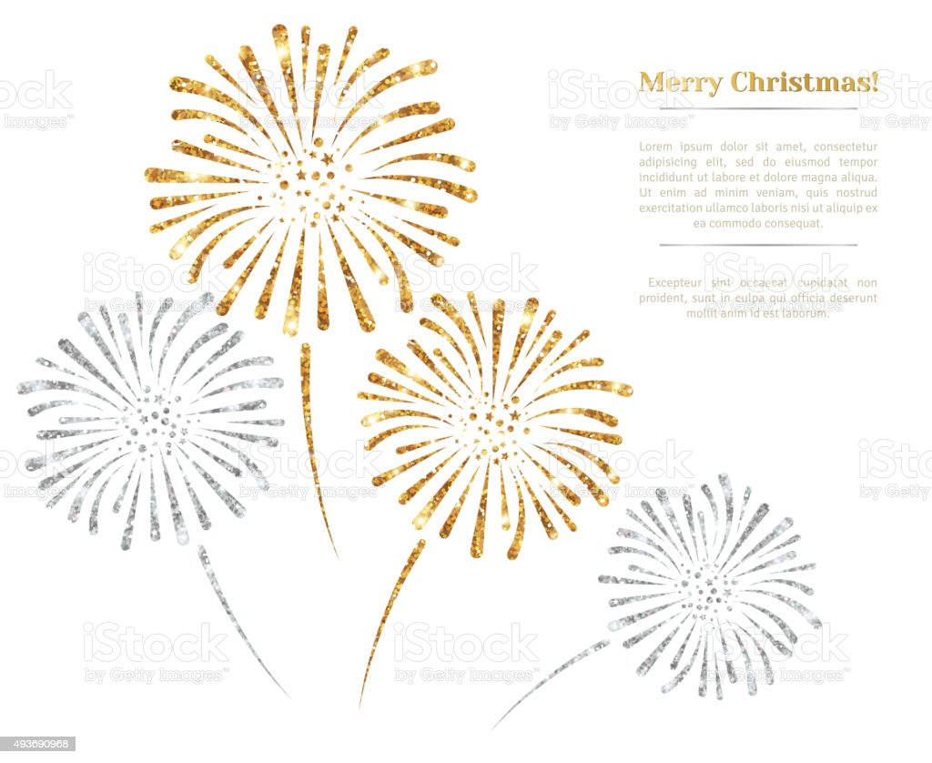 Vector gold and silver fireworks on white background. vector art illustration