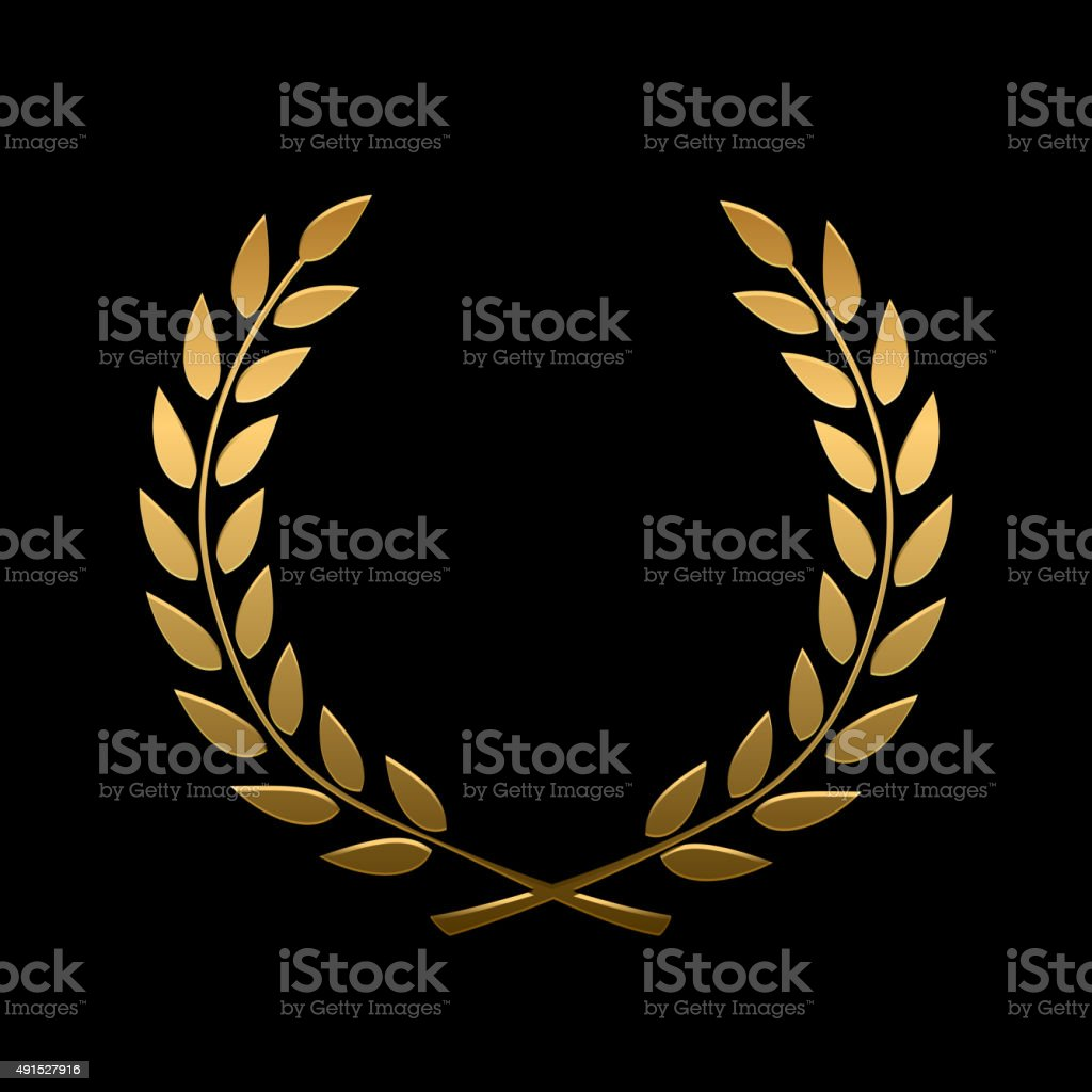 Vector gold award laurel wreath vector art illustration