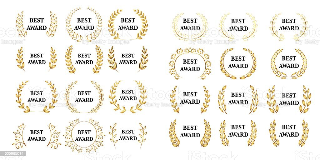 Vector gold award laurel wreath. vector art illustration